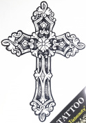 "GGSELL GGSELL tattoo size 21.5CM x 30.5 CM(8.46x12"") non toxic and waterproof hot selling fashionable large Cross fake temporary tattoo stickers for men"""
