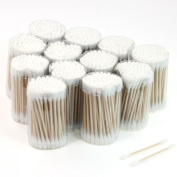 Cosmetic Tool Disposable Double End Wooden Tube Cotton Swab Bud 12 Packs