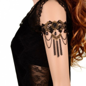 Voberry® Women's Gothic Black Lace Lolita Upper Arm Cuff Armlet Tassel Chain Armband Bracelet
