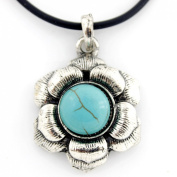Vintage Feel Silver Tone Turquoise Stone Flower Pendant Necklace