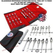 15 Pcs Blackhead Whitehead Pimple Comedone Acne Extractor Facial Tool Kit for Esthetician Cosmetology Beauty Salon...