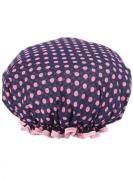 Women Polka Dots Printed Waterproof Shower Cap Double Layer Bathing Cap Elastic Band Spa Shower Hat Navy Blue