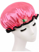 Moolecole Girls/Child Cute Bow-knot Waterproof Double Layer Shower Cap Elastic Band Bathing Cap Spa Shower Hat Watermelon Red