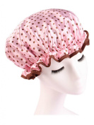 Moolecole Women's Polka Dots Waterproof Double Layer Shower Cap Elastic Band Bathing Cap Spa Shower Hat Pink