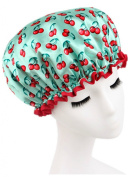 Moolecole Women's Cherry Printed Waterproof Double Layer Shower Cap Elastic Band Bathing Cap Spa Shower Hat