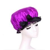 AUCH New/Fashion Women/Lady/Girl Stylish Design Waterproof Shower Cap with Black Satin Bowknot,Dark Purple