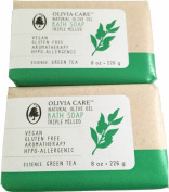 Olivia Care Natural Olvie Oil Bath Soap Green Tea 226 grammes - 2 Bars