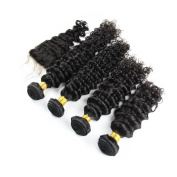 Carina Hair Real Human Hair Extensions Indian Hair Deep Wave 5Pcs/Lot Size:25cm 30cm 36cm 41cm +25cm Closure