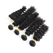Carina Hair Real Human Hair Extensions Indian Hair Deep Wave 5Pcs/Lot Size:25cm 30cm 36cm 41cm +25cm Closure