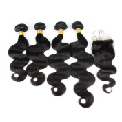 Carina Hair Indian Remy Hair Body Wave Hair Extensions 5Pcs/Lot Size:46cm 50cm 60cm 60cm +46cm Closure