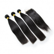 Carina Hair Real Human Straight Hair Extensions Peruvian Hair 4Pcs/Lot Size:25cm 30cm 36cm +25cm closure