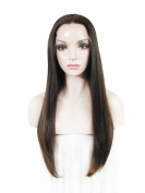 60cm Brown High Density Heat Resistan Synthetic Lace Front Wig Long Straight Wig