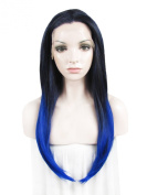 60cm Black Mixed Blue High Density Heat Resistan Synthetic Lace Front Wig Long Straight Wig