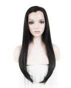 High Density Heat Resistan Synthetic Lace Front Wig Long Straight Dark Brown Wig