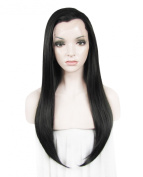 Heat Resistan Synthetic Lace Front Wig Long Straight Nature Black Wig