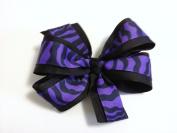 Girls Purple and Black Zebra Hair Bow Teen Hair Accessory Zebra Barrette Animal Print Hair Clip