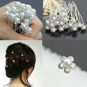 20Pcs Wedding Bridal Artificial Pearl Flower Crystal Hair Pins Clips Ideal for Bridal Party, Bridesmaids, Proms, Pageants Pins