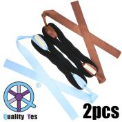 QY 2PCS New Version Big Bow Magic Foam Sponge Donut Twister Ponytail Bun Maker, Light Blue and Brown Colour