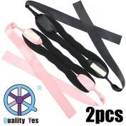 QY 2PCS New Version Big Bow Magic Foam Sponge Donut Twister Ponytail Bun Maker, Black and Pink Colour