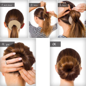 QY Extra Large Size Hair Mesh Chignon Donut To Make The Most Round Largest Doughnuts Hair Bun For Long Thick Hair, Light Beige Colour