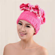 AUCH 1Pcs Hair Drying Hat Super Absorbent Towel Adjustable Shower Cap With Bowknot