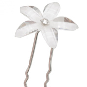 Not Just Wigs White Flower Hair Pin with Rhinestone Centre