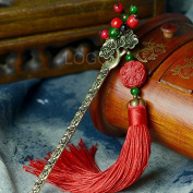 Enjoydeal Hairpin with Carved Lacquer Pendant with Tassel Bride Stone Bead Hair Pin
