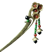 Enjoydeal Women Hairpin Vintage Hair Stick with Copper Made Flowers and Stone Beads