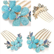 Dealzip Inc® Beautiful Jewellery Rhinestone Blue Flowers Hairpins Hair Clips Hair Beauty Tools
