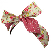 Rockabilly Style 1950s Hairband - Thin Floral Polka