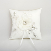 Elegant Wedding Ring Bearer Pillow Rhinestone Lace