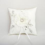 Elegant Wedding Ring Bearer Pillow Rhinestone Lace