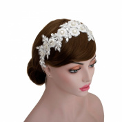 Vintage Bridal Rhinestone Flower Lace Faux Pearls Wedding Headpiece Ribbon Hair Accessories