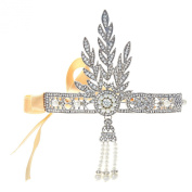 Babeyond® Bling Silver-Tone The Great Gatsby Inspired Leaf Simulated Pearl Headband Hair Tiara- USED LIKE NEW