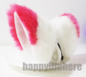 Cat Fox Ears Kitty Costume Halloween Cosplay Fancy Dress Watermelon red with white Kits