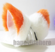 Cat Fox Ears Kitty Costume Halloween Cosplay Fancy Dress Orange with white Kits