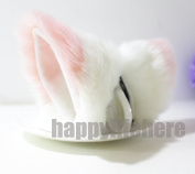Cat Fox Ears Kitty Costume Halloween Cosplay Fancy Dress Pink with white Kits