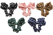 5Pcs Cute Big Rabbit Ear Style Bow Headband Ponytail Holder Hair Tie Band