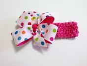 Girls Baby Toddler Multi Colour on White Hair Bow Newborn Headband on Hot Pink Crochet Headband