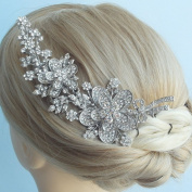 Sindary Wedding Hair Accessories 14cm Silver-tone Clear Rhinestone Crystal Bridal Hair Comb Wedding Headpiece