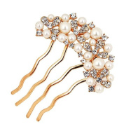 Ulike2 White Pearl and Clear Rhinestone Hair Comb,hair Barrette and Hair Claw Set