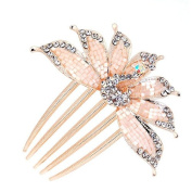Ulike2 Beautiful Peacock Crystal Stud Hair Accessories Side Combs for Women White