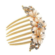 Ulike2 Golden Plated Bridal Flower Crystal Rhinestone Hair Comb