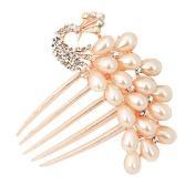 Ulike2 Charm Fashion Womens Bridal Wedding Hair Barrettes Peacock Pearl Crystal Rhinestone Hair Clip Comb-champagne