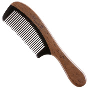 Breezelike No Static Black Buffalo Tooth Comb with Round Chacate Preto Wood Handle