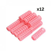 DMtse 12 pcs Plastic DIY Hair Styling Roller Curlers Clips