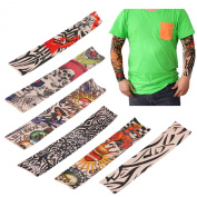 LEMONBEST 6 pcs Nylon Fake Temporary Tattoo Sleeves Sun Protection Arm Stockings Accessories Kit For Men Women Halloween Costume