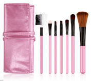 Lowestbest Professional 7 Pieces Baby Pink Face Powder/foundation/concealer/eye Shadow Makeup Brush Set with Pink Case
