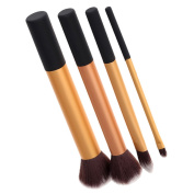 Getmore 4pcs Professional Cosmetic Set Real Techniques Core Collection Set (Golden) Pointed Foundation Brush + Detailer Brush+ Buffing Brush + Contour Brush