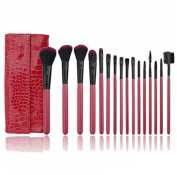 Luxury 16 Pieces Professional Cosmetic Makeup Brush Set PU Leather Red Bag